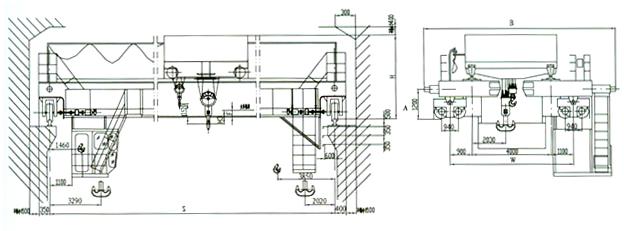 QD型125/32吨电动双梁桥式起重机产品参数  QD型 125/32吨 电动双梁桥式起重机 产品参数 第2张