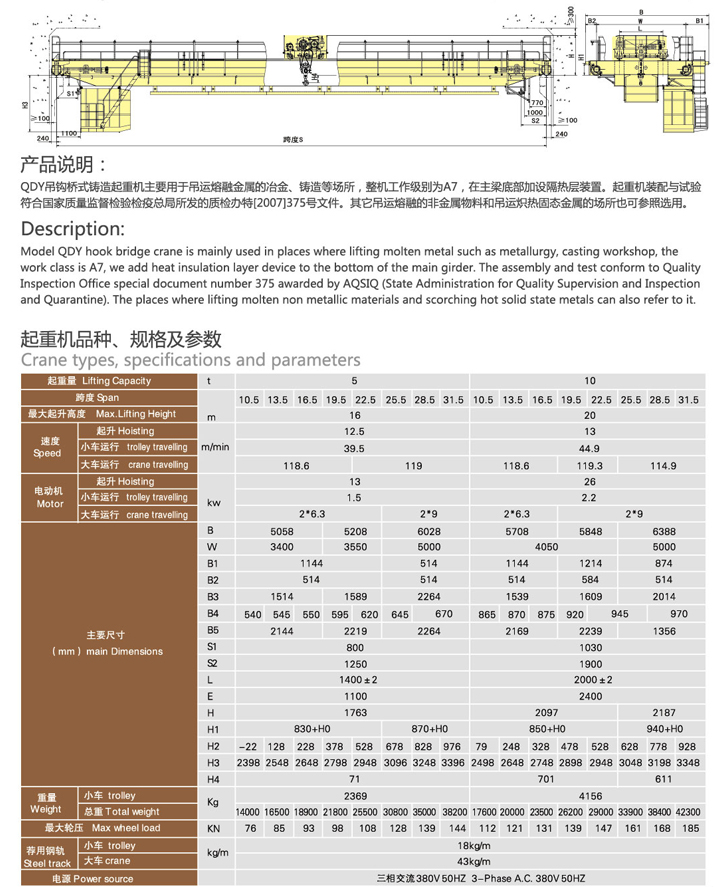 起重机改造QDY型冶金桥式起重机冶金天车冶金行车  起重机改造 QDY型 冶金桥式起重机 冶金天车 冶金行车 第2张