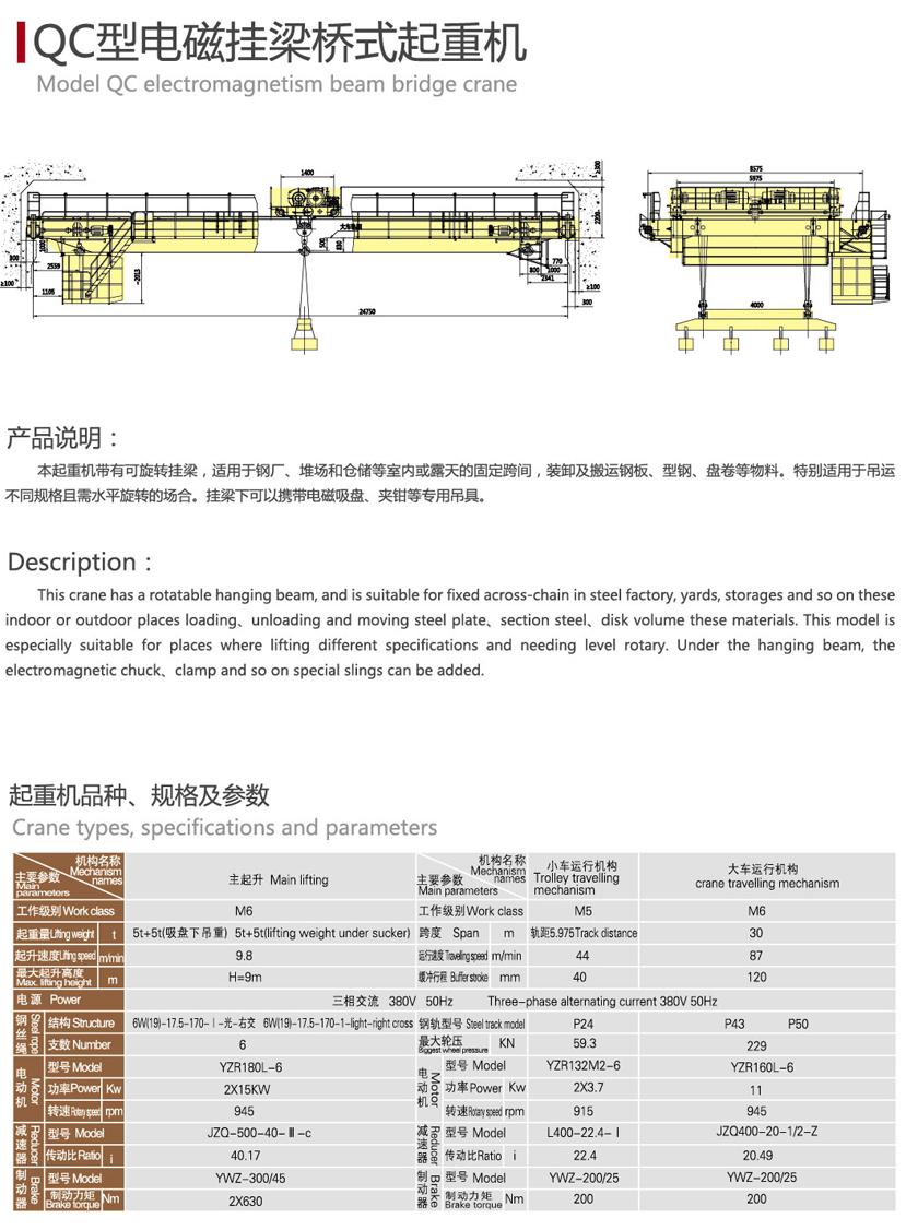 双梁起重机QC型电磁挂梁桥式起重机  双梁起重机 QC型 电磁挂梁桥式起重机 第2张