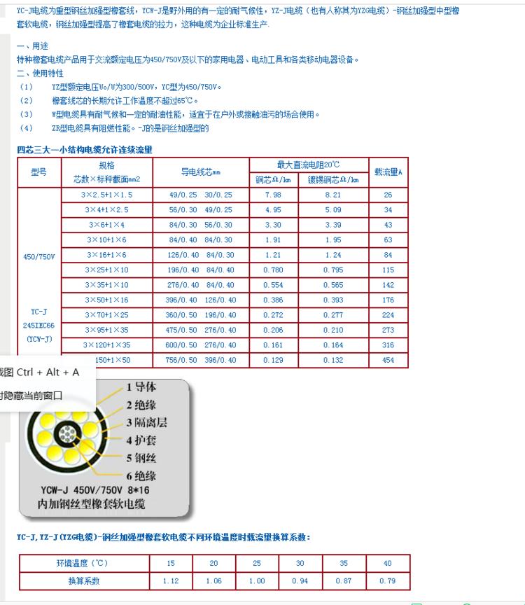 电动葫芦用电缆YC-J加强型电缆生产厂家 起重机电缆YCW-J电缆采购